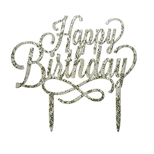 (Happy Birthday Acrylic Cake Toppers Glitter Party Decorations (CP12 5.3 * 6.3 inch, Silver))