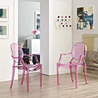 Modway Casper Modern Acrylic Dining Armchairs in Pink - Set of 2