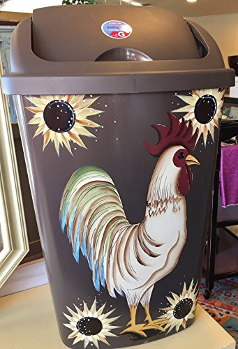 (Primitive Country Decor Hand Painted Sunflower Farmhouse Rooster Kitchen Trash Can 13.2 Gallon)