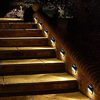 Solar Step Deck Lights, LED Light Wall Mount Garden Path Lamp Stair Lights  Outdoor Patio