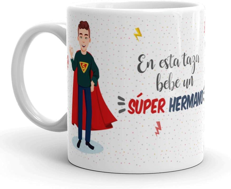 Kembilove Taza de Café para Hermano – Aquí Bebe un Super Hermano – Taza de Desayuno para Familia – Regalo Original para Cumpleaños, Navidad, Aniversarios – Taza de Cerámica Impresa de 350 ml