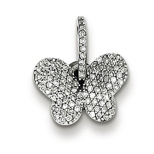 Argent Sterling diamant pendentif Papillon-JewelryWeb
