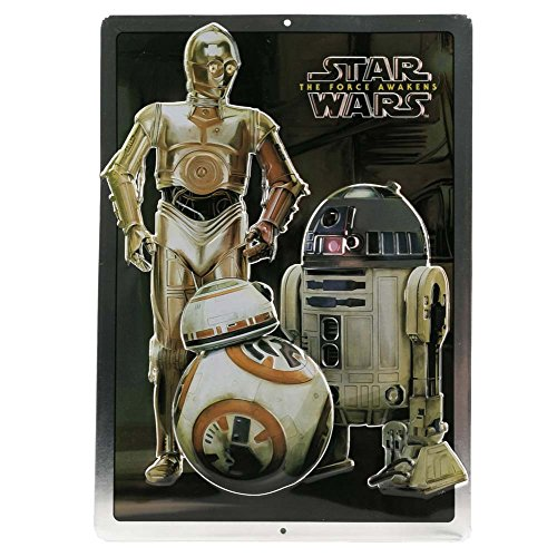 Open Road Brands Star Wars Droids C-3PO, R2-D2 and BB-8 - Vintage Retro Metal Wall Art Decoration - Great for Man Caves, Wall Art, Home Decor and Much More