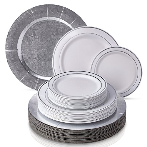 MODERN ELEGANT DISPOSABLE 60 PC DINNERWARE SET | Heavy Duty Plastic Dishes | 20 Chargers | 20 Dinner Plates | 20 Salad Plates | for Upscale Wedding and Dining | Silver Glare Collection (White/Silver)