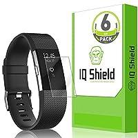 Protector de pantalla IQShield Fitbit Charge 2 (paquete de 6), protector de pantalla de cobertura total LiQuidSkin para Fitbit Charge 2 HD, película transparente anti-burbujas