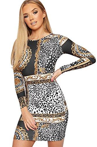 Womens Sleeve Retro Black Dress Baroque WearAll Long Bodycon Mini Print Stretch HwTqT1d