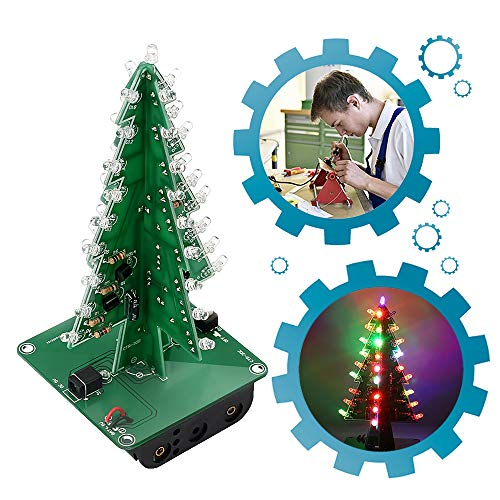 - IS ICStation DIY 3D Xmas Tree Soldering Practice Electronic Science Assemble Kit 7 Color Flashing LED PCB Solder Tool