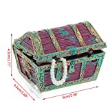 Techinal Treasure Chest Shaped Aquarium Air Action Ornament Fish Tank Aquascaping Decor ( Red )