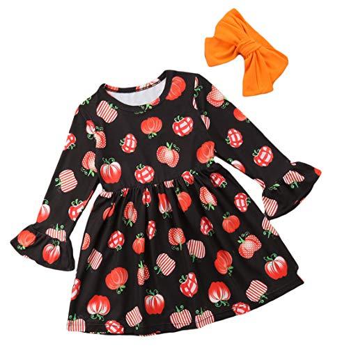 Baby Girl's Cute Pumpkin Print Long Flare Sleeve Dress+Headband Halloween Party Dress Outfits Set (90/1-2Y)