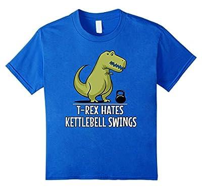 T-Rex Hates Kettlebell Swings Funny Gym Dinosaur Shirt