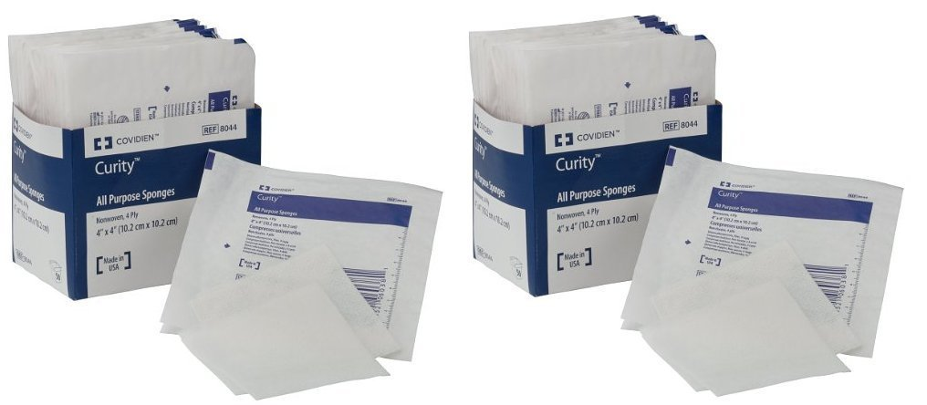 """Covidien 8044 Curity Non-Woven All-Purpose Sponge, Sterile 2's in Peel-Back Package, 4"""" x 4"""", 4-ply (2 Packs of 25)"""