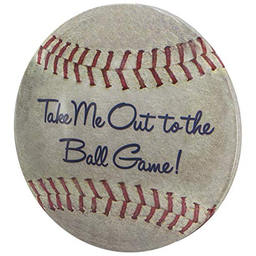 Sign Ball - Take Me Out to The Ball Game Dome Shaped Metal Baseball Sign Wall Decor for Bar, Garage or Man Cave (15