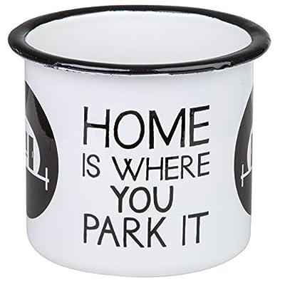 """""""HOME IS WHERE YOU PARK IT"""" - Hochwertiger Emaille Becher mit Wohnwagen Motiv - leicht und bruchsicher, für Camping, Camper und Outdoor activities- von MUGSY.de"""