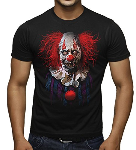 Men's Zombie Clown Black T-Shirt Medium Black