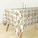 Roostery Tablecloth - Diamonds Southwest Buffalo Kilim Tribal Geometric by Mrshervi - Cotton Sateen Tablecloth 70 x 90