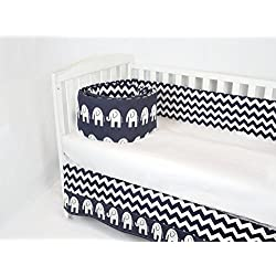 ROCKINGHAM ROAD,CRIB BEDDING SET FOR BABY GIRL OR BOY,BUMPER AND CRIB SKIRT, WHITE AND NAVY CHEVRON MIXED ELEPHANTS (GENDER NEUTRAL) UNISEX BEST SELLER,MADE IN THE USA.