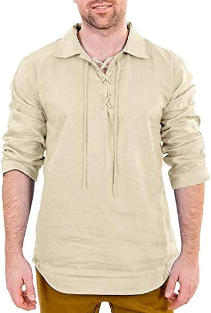 Hombres Medievales Camisa Vintage Solapa Camisa Casual Lace-up Manga Larga Camisetas Gótico Steampunk Cosplay Camisa Halloween Carnaval Ropa: Amazon.es: Ropa y accesorios