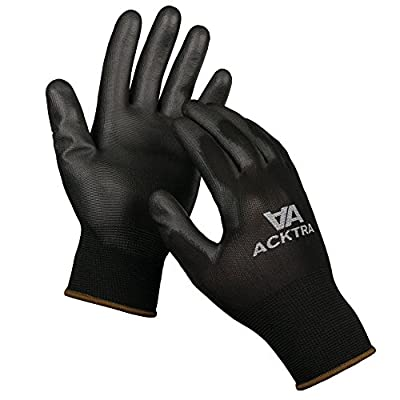 ACKTRA Ultra-Thin Polyurethane ( PU ) Coated Nylon WORK GLOVES 12 Pairs / 1 Dozen, Knit Wrist Cuff, for Precision Work, for Men & Women, Black Grey White, Small Medium Large, WG002