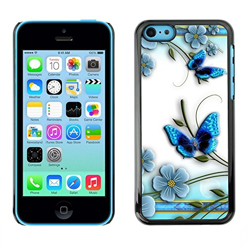 GooooStore/Housse Etui Cas Coque - Butterfly White Floral Flower Petal - Apple iPhone 5C