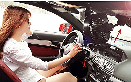 Jhua 12V 6 inch Car Clip Fan Automobile Vehicle Cooling Car Fan Powerful Quiet Speedless Ventilation Electric Car Fans With Clip Cigarette Lighter Plug for Summer by Jhua (Image #5)