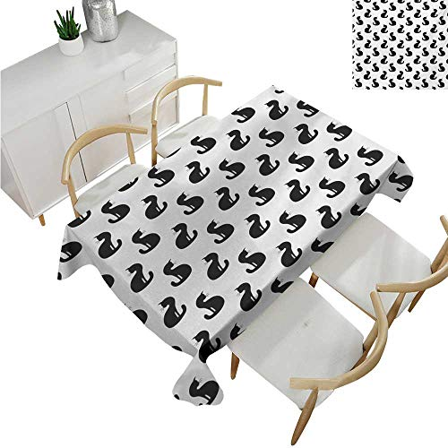 familytaste Cat,Vintage tablecloths,Silhouette of a Kitten Monochrome Feline Pattern House Pet Illustration Halloween,Waterproof Table Cover for Kitchen 70