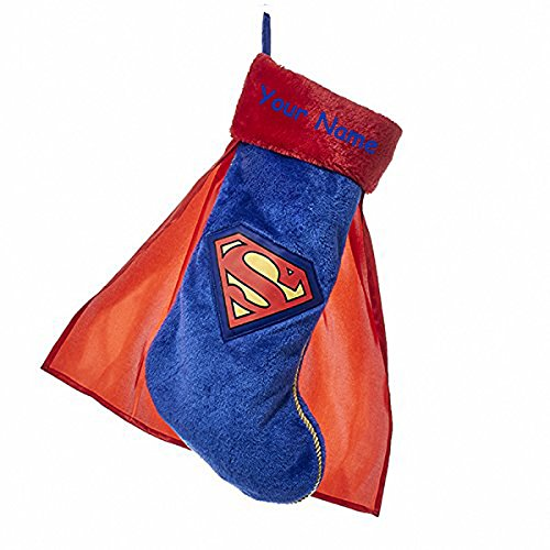 Personalized Superman Christmas Stocking With Cape and Name - 19 Inches