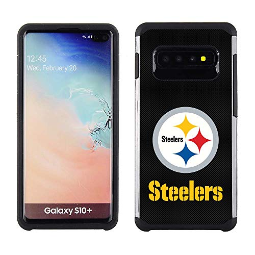 Samsung Galaxy S10 Plus - NFL Licensed Pittsburgh Steelers Black Textured Back Cover on Black TPU Skin ()
