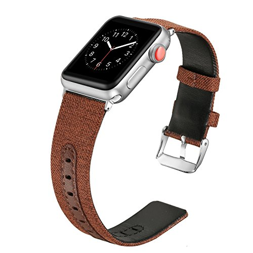 Secbolt Compatible Apple Watch Band 38mm for Women Men, Canvas Fabric Bands with Leather Strap iWatch Nike+, Series 4, Series 3, Series 2, Series 1, Sport, Edition(Coffee, 38/40mm) ()