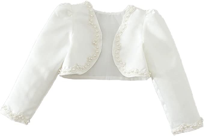Snowskite Little Girls White Long Sleeves Satin Flower Girl Bolero Jacket Cover