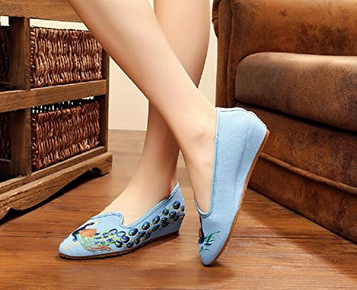 Lazutom - Mocasines de Lona para mujer Azul