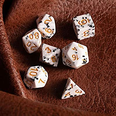 Cookies & Cream Dice Set - Premium Resin 7 Polyhedral Tabletop Role-Playing Dice - Black, White, Gold Colored Fantasy RPG Gaming Accessory: Toys & Games