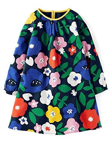 Girls Cotton Aline Dress 3/4 Sleeve Casual Dresses Purple Printed Skirt Dress -
