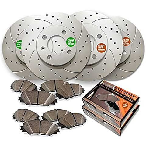 Maxim Brakes Direct Front and Rear Low Dust Ceramic Pads and Premium Drilled and Slotted Brake Rotors MAXMBKG21186DS