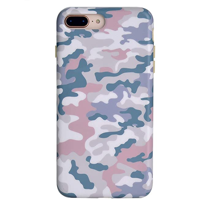 online store 7e6d7 971b3 Pink Blue Nude Camo iPhone 8 Plus Case/iPhone 7 Plus Case - Premium  Protective Cover - Cute Phone Cases for Girls & Women [Drop Test Certified]