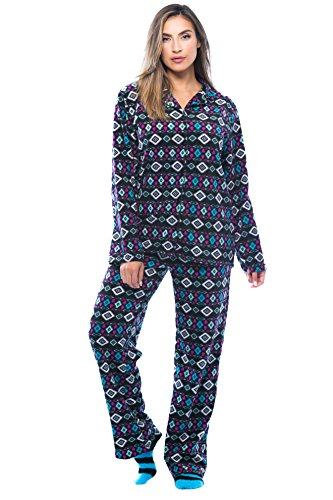 #followme Printed Microfleece Button Front PJ Pant Set With Socks