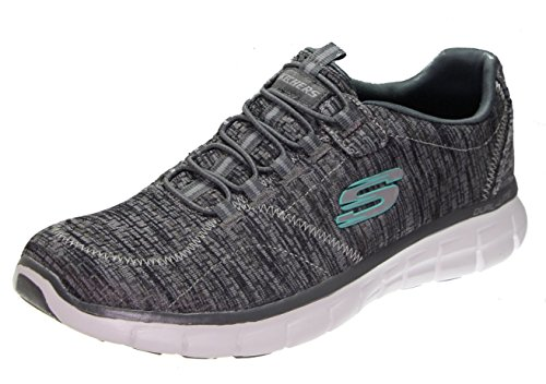 Synergy Media - Skechers Synergy lunation Women's Fashion Sneaker, Charcoal/White/Black, 7 Wide US