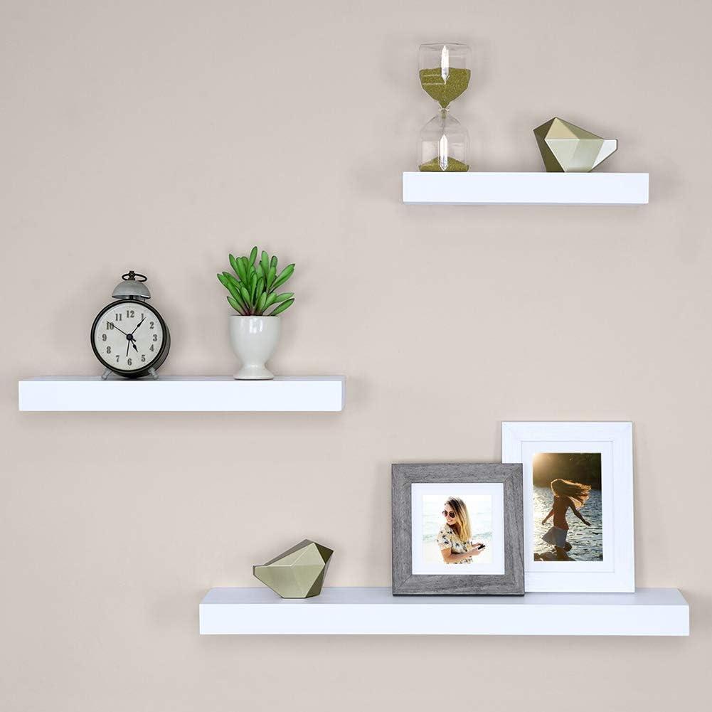 Floating Shelves Set of 3 Wall Shelves, Decorative Non-Destructive Indoor Use Installation Convenient Invisible Bracket Support