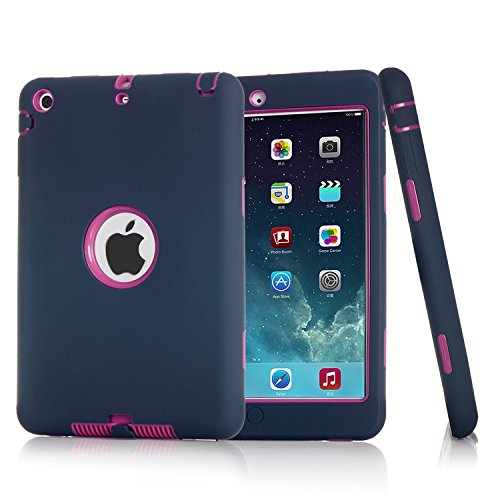 iPad Mini Case, iPad Mini 2/3 Case, Jenny shop 3in1 Hybrid Shockproof Hard Plastic with Soft Silicone Bumper Triple Layer Armor Full Body Protective Cover Case for iPad Mini 1/2/3 (Navy + Rose Red) ()