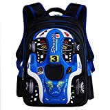 School Bag For Boys 3D Racing Shouders Bag 6-12 Years Old Children Backpack 12.5 * 9.4 * 16.9Inch,Blue