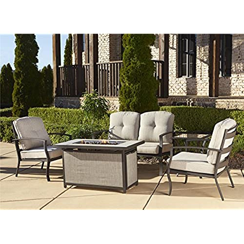 Cosco Outdoor 5 Piece Serene Ridge Aluminum Patio Furniture Conversation  Set With Cushions And Aluminum Gas Fire Pit Table, Dark Brown