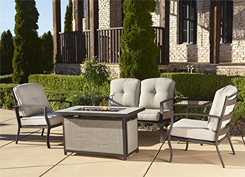 Cosco Outdoor 5 Piece Serene Ridge Aluminum Patio Furniture Conversation Set with Cushions and Aluminum Gas Fire Pit Table, Dark Brown (Outdoor Fire Pit Tables With Chairs)