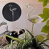 Kicode Self Watering Aqua Bulbs Hand-Blown Mini Glass Automatic Plant Waterer Flamingo Shaped
