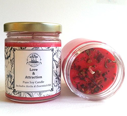 Love & Attraction 6 oz Soy Spell Candle for Romance & Relationships Wiccan Pagan (Spell Candle)