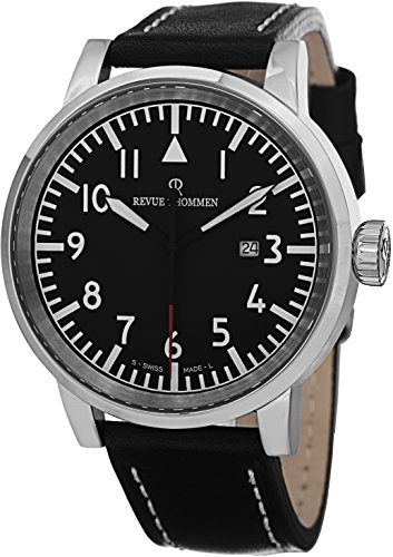 Revue Thommen Airspeed Xlarge Black Dial Date - Black Leather Band Revue Thommen Watch Mens - Swiss Revue Thommen Automatic Watch 16053.2537