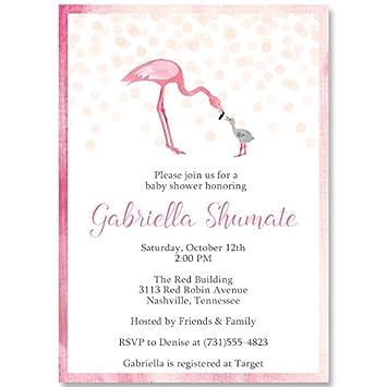 amazon com flamingo baby shower invitations watercolor pink