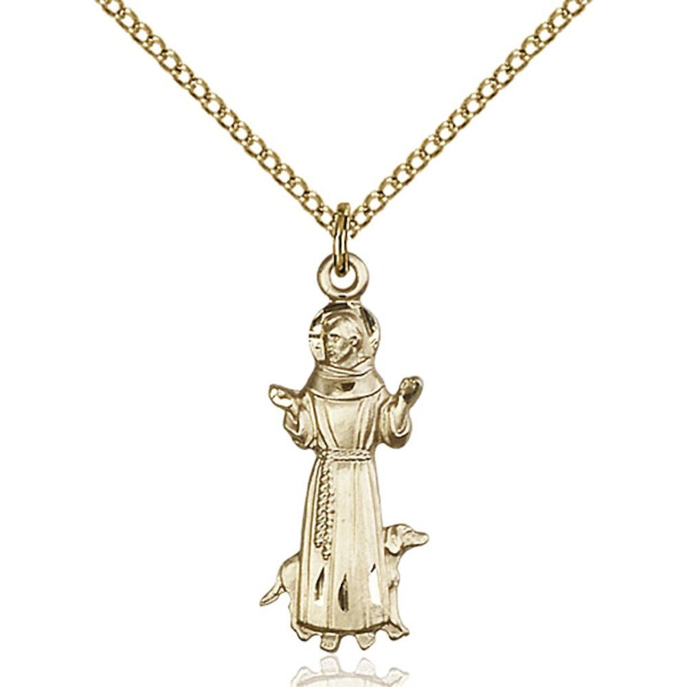 Gold Filled St. Francis Pendant 1 x 3/8 inches with Gold Filled Lite Curb Chain