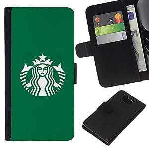 KLONGSHOP // Tirón de la caja Cartera de cuero con ranuras para tarjetas - Cafetería Verde Marca - Samsung ALPHA G850 //
