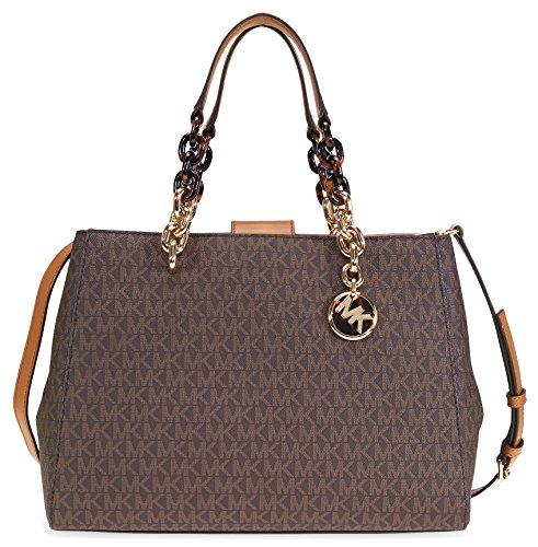 Michael Kors Cynthia Medium Logo Satchel- Brown by MICHAEL Michael Kors