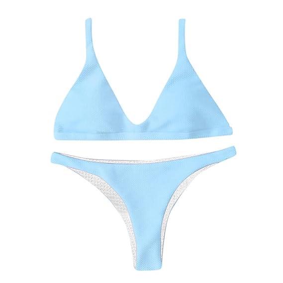 SHOBDW Moda Verano Mujeres Push-up Acolchado Sujetador Sexy Vendaje Bikini Conjunto Flojo Traje de
