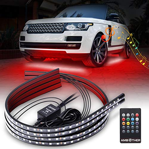 (AMBOTHER Car Neon Underglow Lights Waterproof RGB LED Strip Light Multi-colored Underbody Exterior Lighting Kit with Music Mode, Wireless Remote Control, Adjustable Brightness, DC 12V, 4 Pcs )